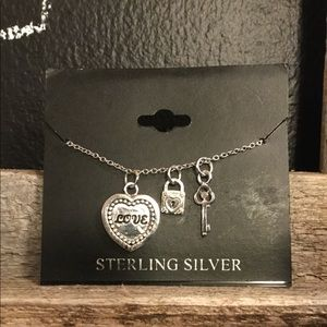Sterling Silver heart, lock and key necklace